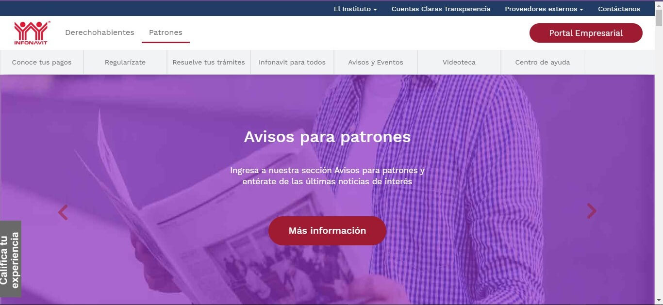 Portal Infonavit dedicado a las empresas